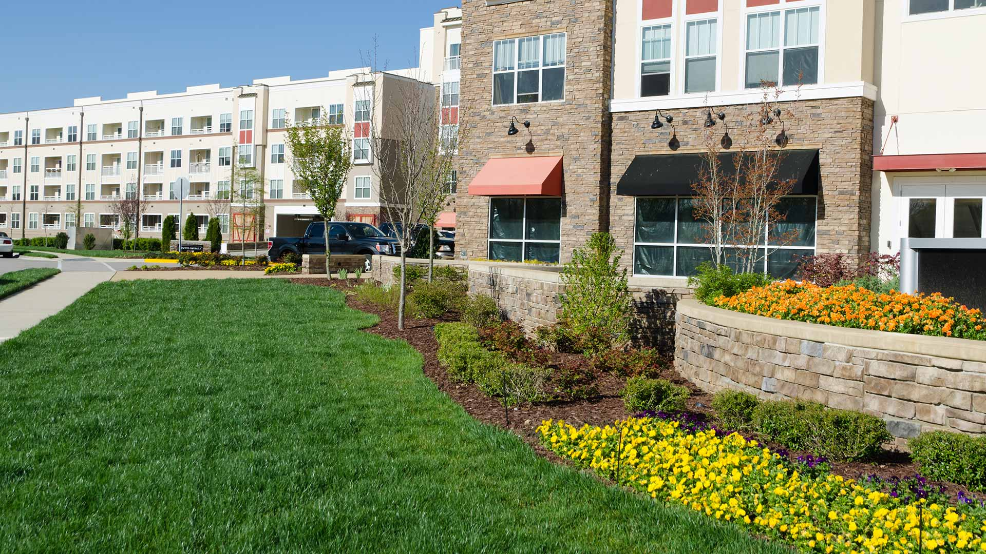 Commercial landscape design near Bristow, VA.
