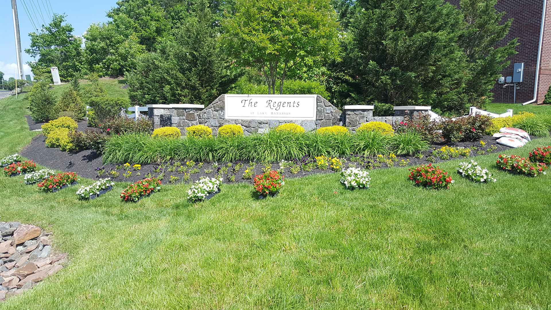 Landscape bed maintained at a Manassas, VA neighborhood.
