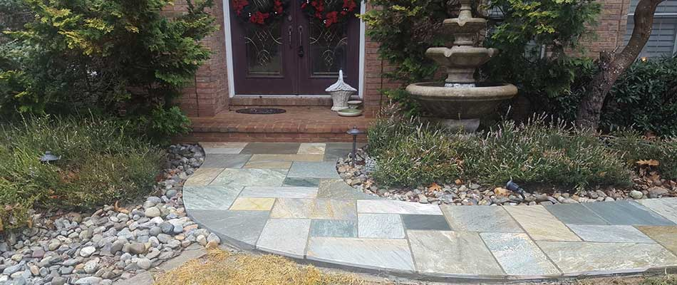 Custom walkway installation at a Wellington, VA residential property.